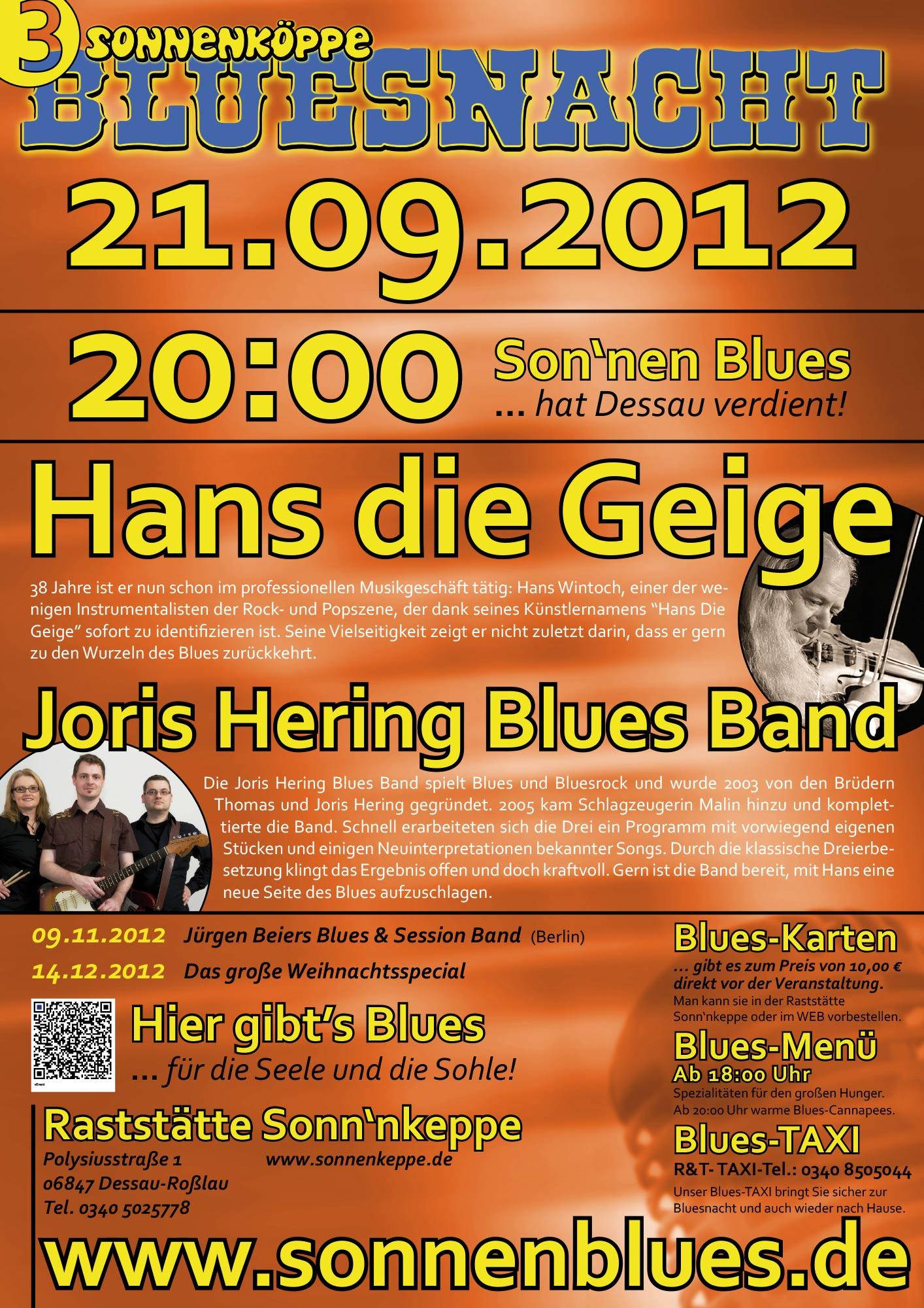Bluesnacht #4 - Hans die Geige & Joris Hering Blues Band